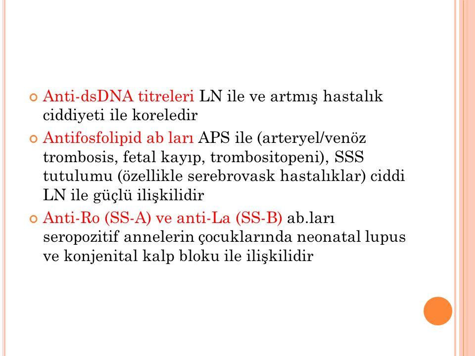 Anti-dsDNA titreleri LN ile ve artmış hastalık ciddiyeti ile koreledir Antifosfolipid ab ları APS ile (arteryel/venöz trombosis, fetal kayıp, trombosi