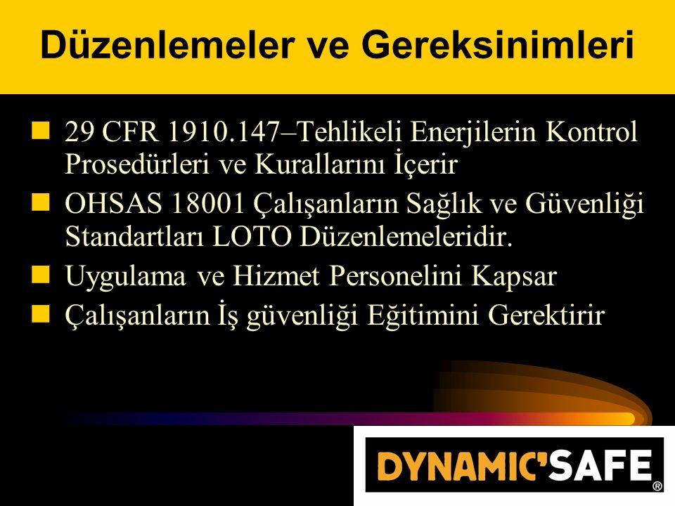 29 CFR 1910.147–Tehlikeli Enerjilerin Kontrol Prosedürleri ve Kurallarını İçerir OHSAS 18001 Çalışanların Sağlık ve Güvenliği Standartları LOTO Düzenlemeleridir.