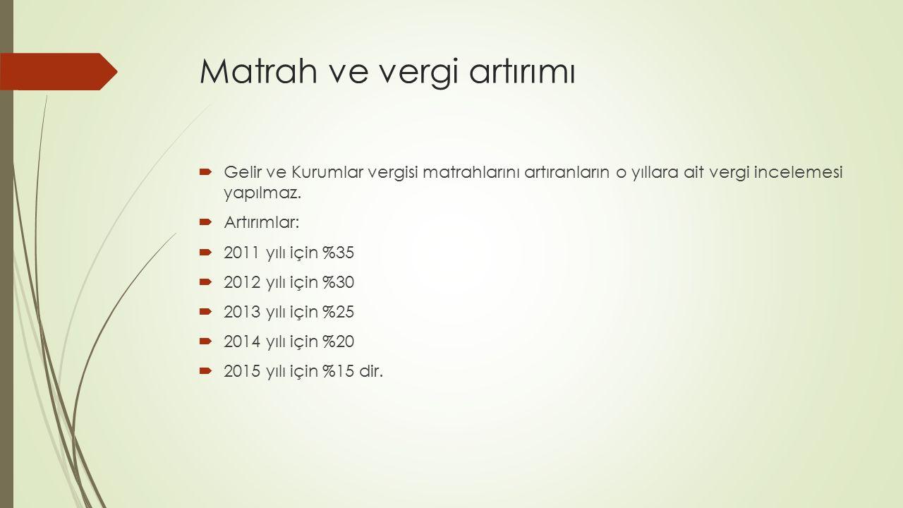Zarar halinde matrah artırımı  İşletme hesabında  2011 yılı için 9.500 TL.