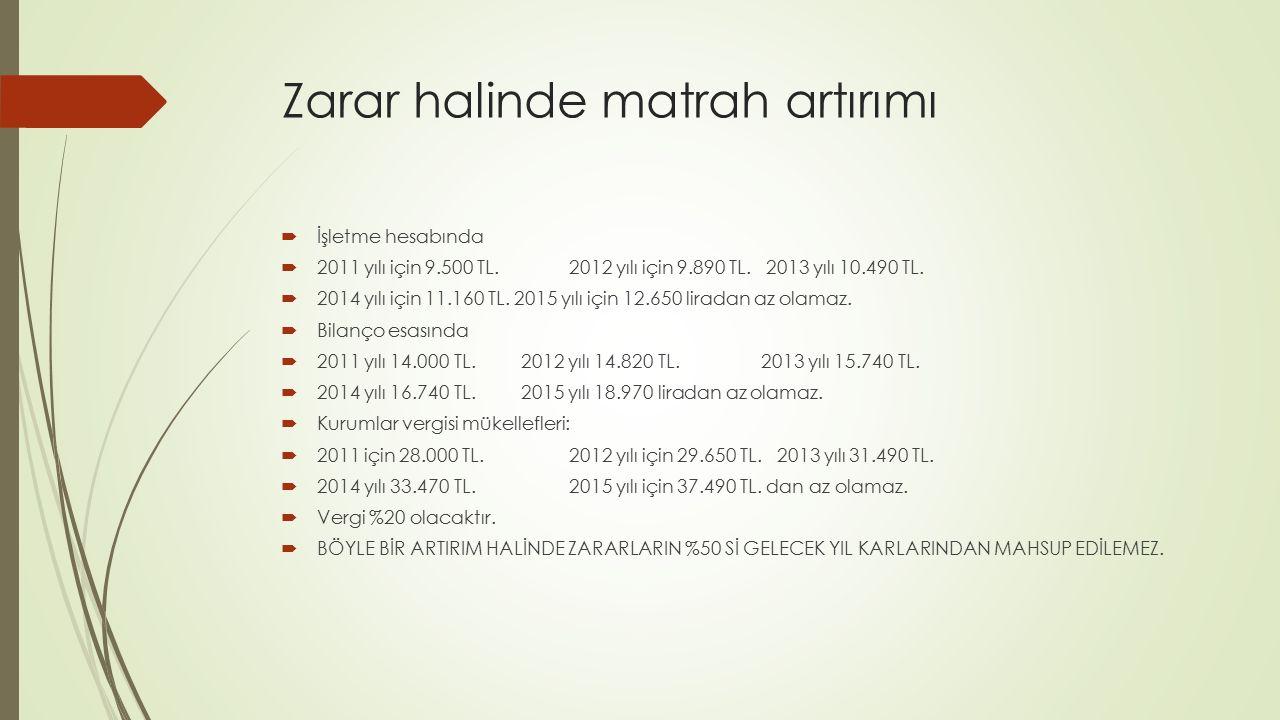 Zarar halinde matrah artırımı  İşletme hesabında  2011 yılı için 9.500 TL. 2012 yılı için 9.890 TL. 2013 yılı 10.490 TL.  2014 yılı için 11.160 TL.