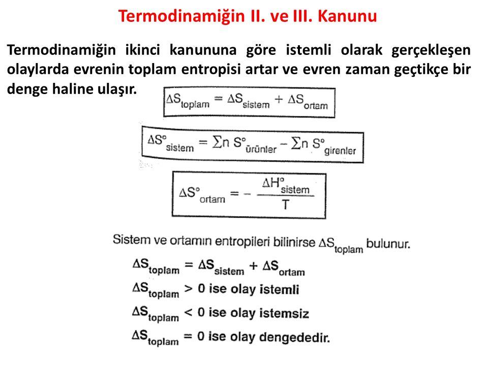 Termodinamiğin II. ve III. Kanunu Termodinamiğin ikinci kanununa göre istemli olarak gerçekleşen olaylarda evrenin toplam entropisi artar ve evren zam