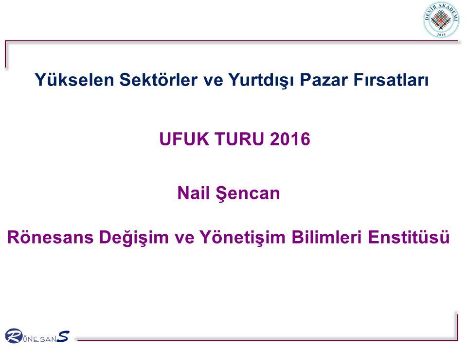 UFUK TURU 2016 Nail Şencan Rönesans Değişim ve Yönetişim Bilimleri Enstitüsü Yükselen Sektörler ve Yurtdışı Pazar Fırsatları