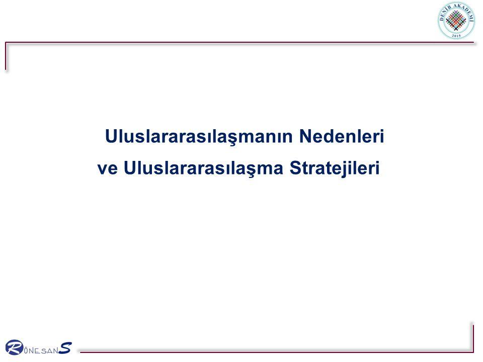 Uluslararasılaşmanın Nedenleri ve Uluslararasılaşma Stratejileri