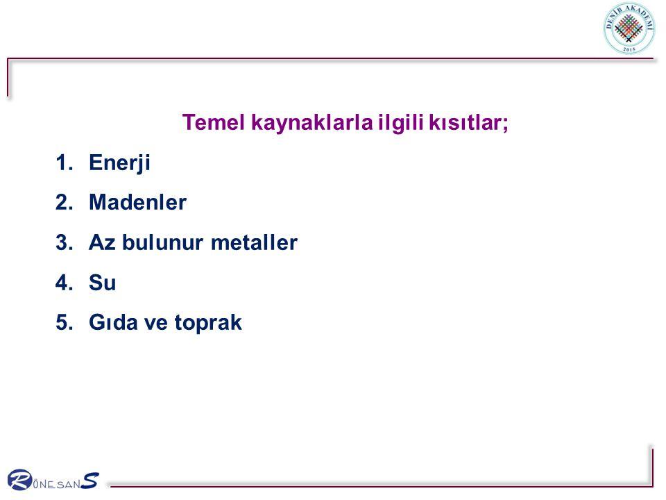 Temel kaynaklarla ilgili kısıtlar; 1.Enerji 2.Madenler 3.Az bulunur metaller 4.Su 5.Gıda ve toprak