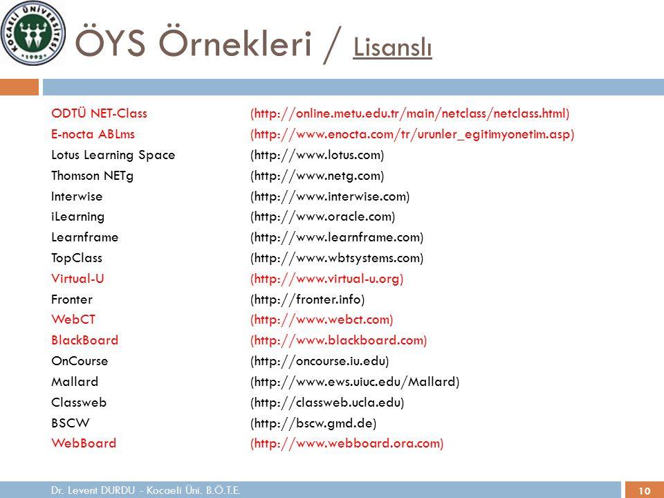 10 ÖYS Örnekleri / Lisanslı ODTÜ NET-Class(http://online.metu.edu.tr/main/netclass/netclass.html) E-nocta ABLms(http://www.enocta.com/tr/urunler_egitimyonetim.asp) Lotus Learning Space(http://www.lotus.com) Thomson NETg(http://www.netg.com) Interwise(http://www.interwise.com) iLearning(http://www.oracle.com) Learnframe(http://www.learnframe.com) TopClass(http://www.wbtsystems.com) Virtual-U(http://www.virtual-u.org) Fronter(http://fronter.info) WebCT(http://www.webct.com) BlackBoard(http://www.blackboard.com) OnCourse(http://oncourse.iu.edu) Mallard(http://www.ews.uiuc.edu/Mallard) Classweb(http://classweb.ucla.edu) BSCW(http://bscw.gmd.de) WebBoard(http://www.webboard.ora.com) Dr.