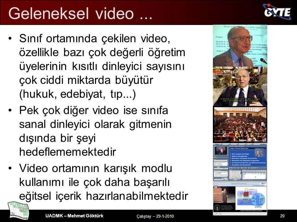 UADMK – Mehmet Göktürk Çalıştay – 29-1-2010 20 Geleneksel video...