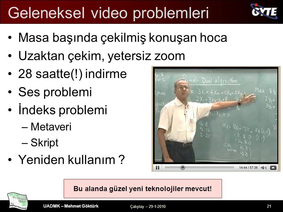 UADMK – Mehmet Göktürk Çalıştay – 29-1-2010 21 Bu alanda güzel yeni teknolojiler mevcut.