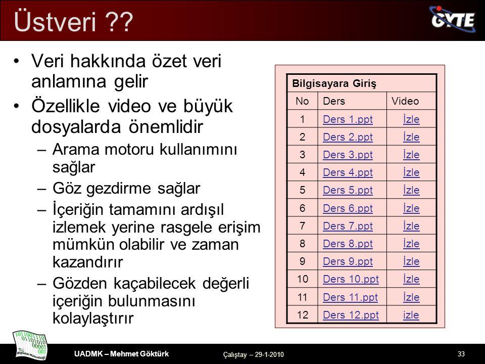 UADMK – Mehmet Göktürk Çalıştay – 29-1-2010 33 Üstveri .