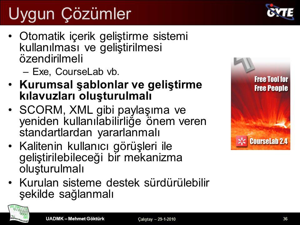 UADMK – Mehmet Göktürk Çalıştay – 29-1-2010 36 Uygun Çözümler Otomatik içerik geliştirme sistemi kullanılması ve geliştirilmesi özendirilmeli –Exe, CourseLab vb.