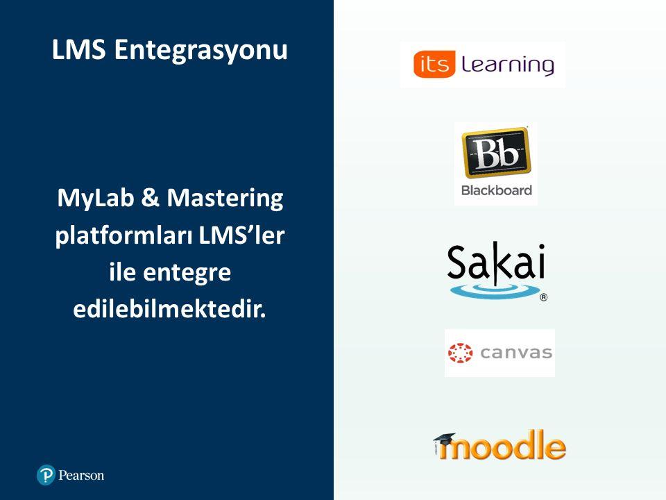 LMS Entegrasyonu MyLab & Mastering platformları LMS'ler ile entegre edilebilmektedir.