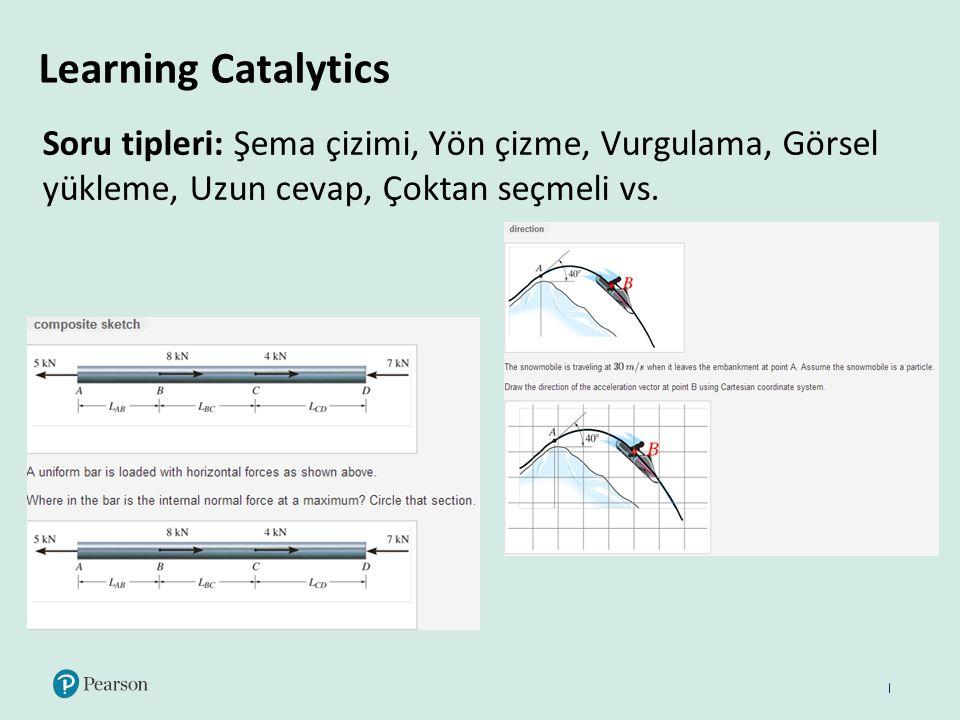 Learning Catalytics Soru tipleri: Şema çizimi, Yön çizme, Vurgulama, Görsel yükleme, Uzun cevap, Çoktan seçmeli vs.