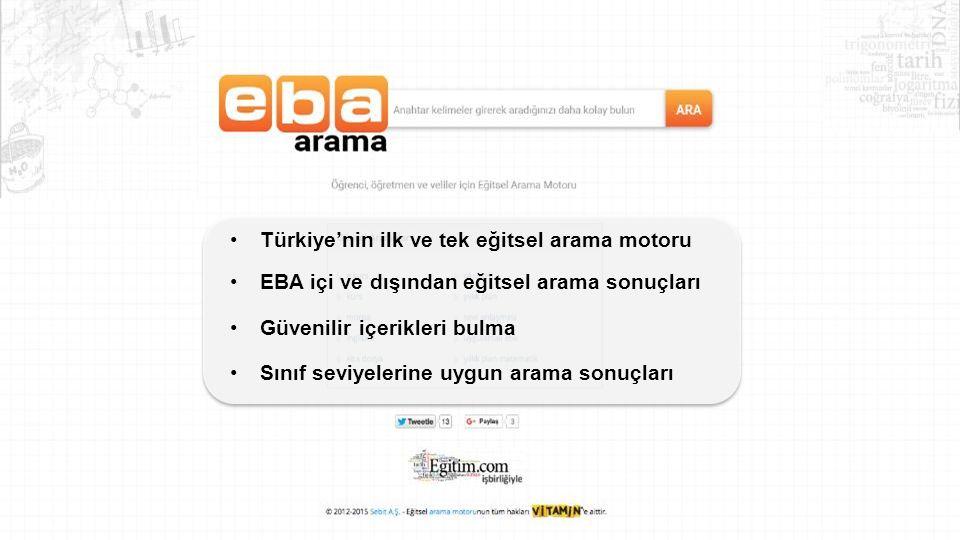 Türkiye'nin ilk ve tek eğitsel arama motoru EBA içi ve dışından eğitsel arama sonuçları Güvenilir içerikleri bulma Sınıf seviyelerine uygun arama sonuçları