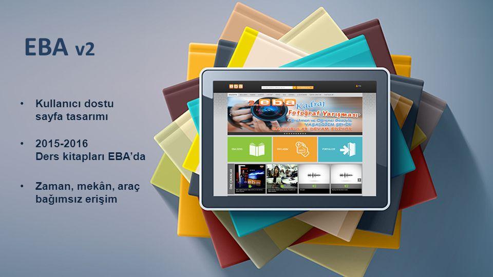 Kullanıcı dostu sayfa tasarımı EBA v2 2015-2016 Ders kitapları EBA'da Zaman, mekân, araç bağımsız erişim