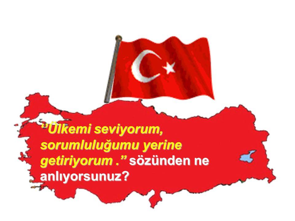 ''Ülkemi seviyorum, sorumluluğumu yerine getiriyorum.'' sözünden ne anlıyorsunuz?