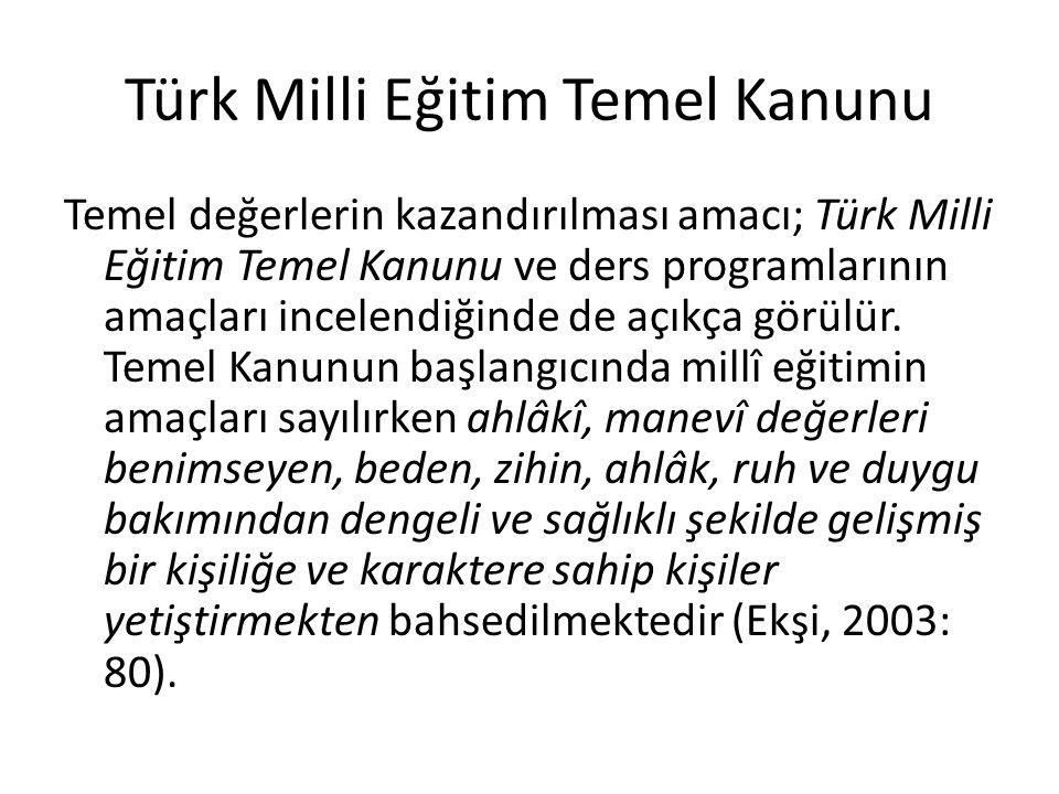 Türk Milli Eğitim Temel Kanunu Temel değerlerin kazandırılması amacı; Türk Milli Eğitim Temel Kanunu ve ders programlarının amaçları incelendiğinde de