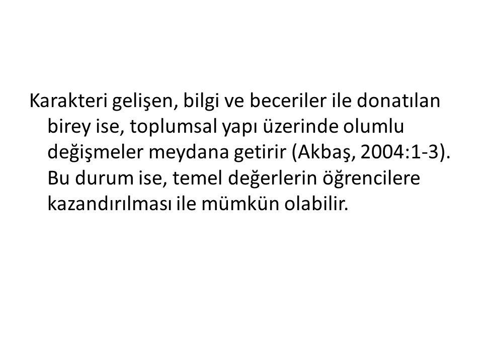 Türk Milli Eğitim Temel Kanunu Temel değerlerin kazandırılması amacı; Türk Milli Eğitim Temel Kanunu ve ders programlarının amaçları incelendiğinde de açıkça görülür.
