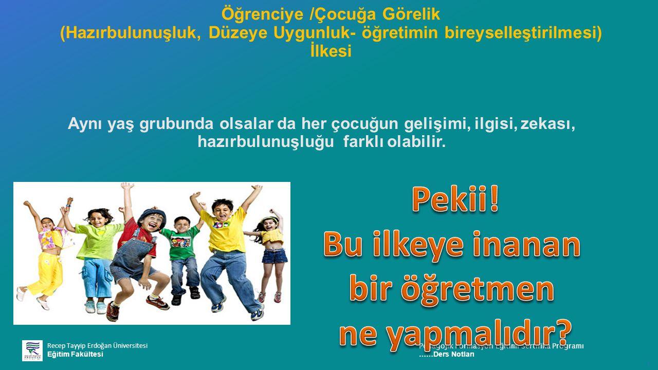 Recep Tayyip Erdoğan Üniversitesi Eğitim Fakültesi Pedagojik Formasyon E ğ itimi Sertifika Programı ……Ders Notları ı Aynı yaş grubunda olsalar da her