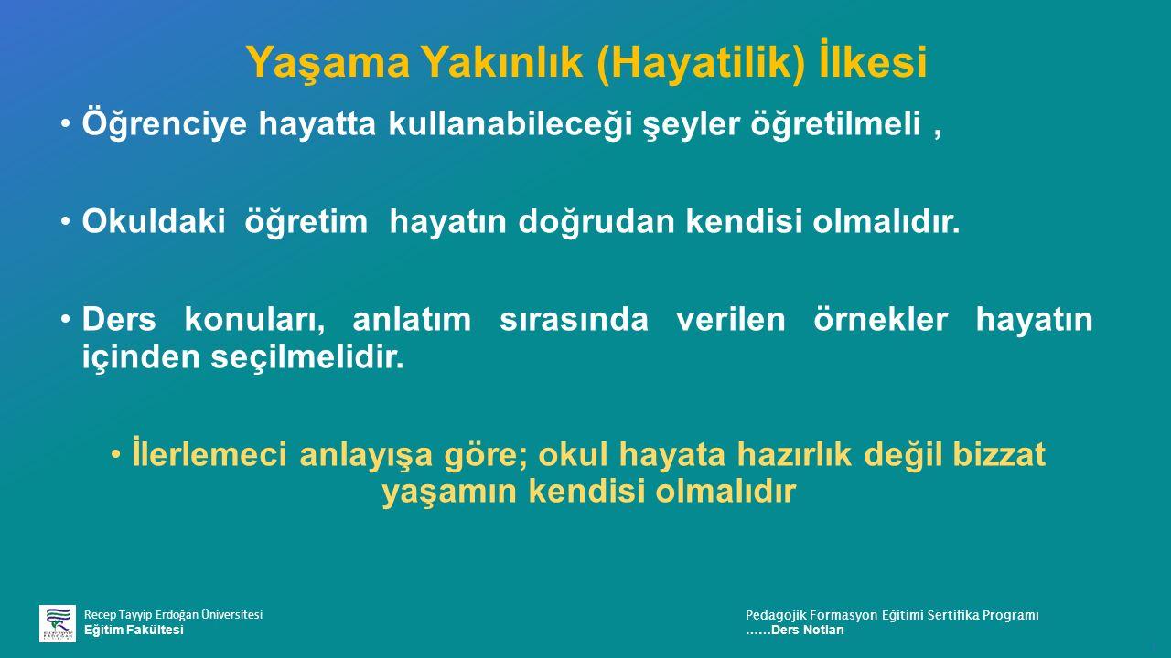 Recep Tayyip Erdoğan Üniversitesi Eğitim Fakültesi Pedagojik Formasyon E ğ itimi Sertifika Programı ……Ders Notları ı Yaşama Yakınlık (Hayatilik) İlkes