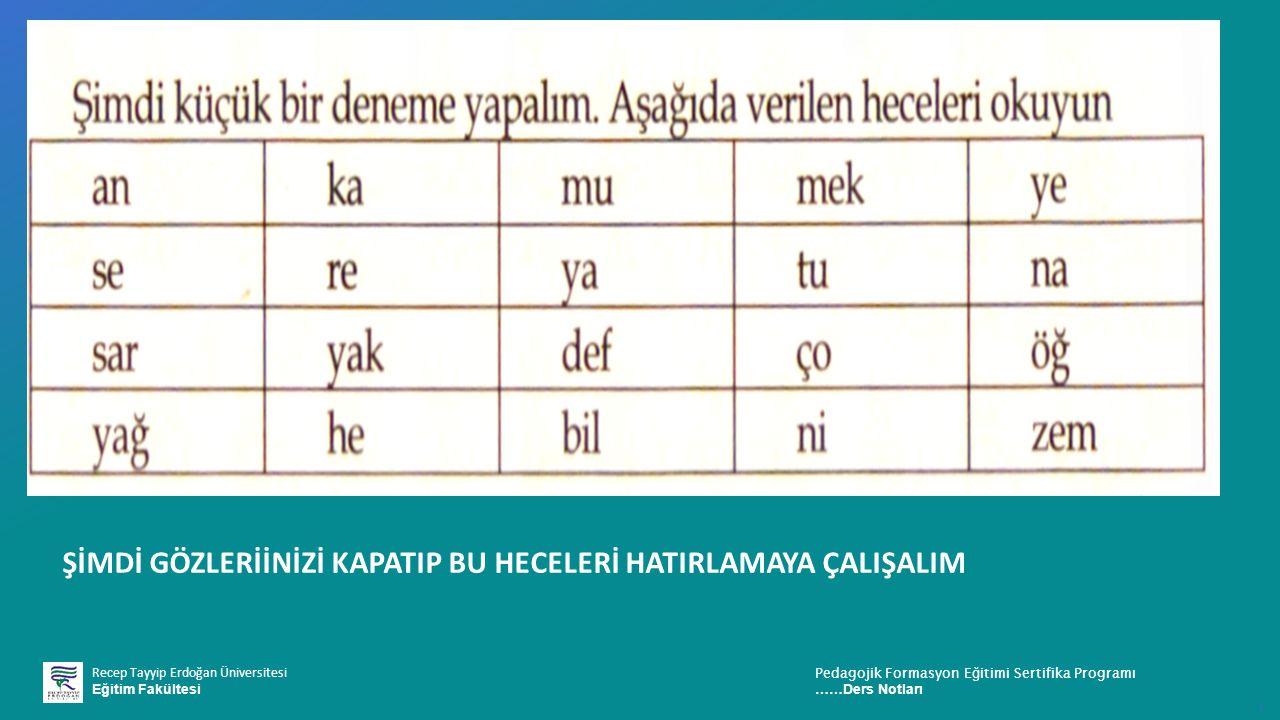 Recep Tayyip Erdoğan Üniversitesi Eğitim Fakültesi Pedagojik Formasyon E ğ itimi Sertifika Programı ……Ders Notları ı ŞİMDİ GÖZLERİİNİZİ KAPATIP BU HEC