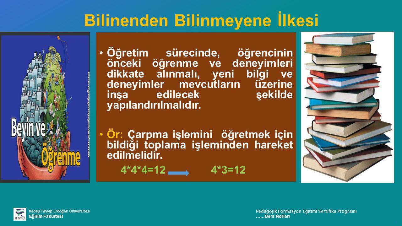 Recep Tayyip Erdoğan Üniversitesi Eğitim Fakültesi Pedagojik Formasyon E ğ itimi Sertifika Programı ……Ders Notları ı Bilinenden Bilinmeyene İlkesi Öğr