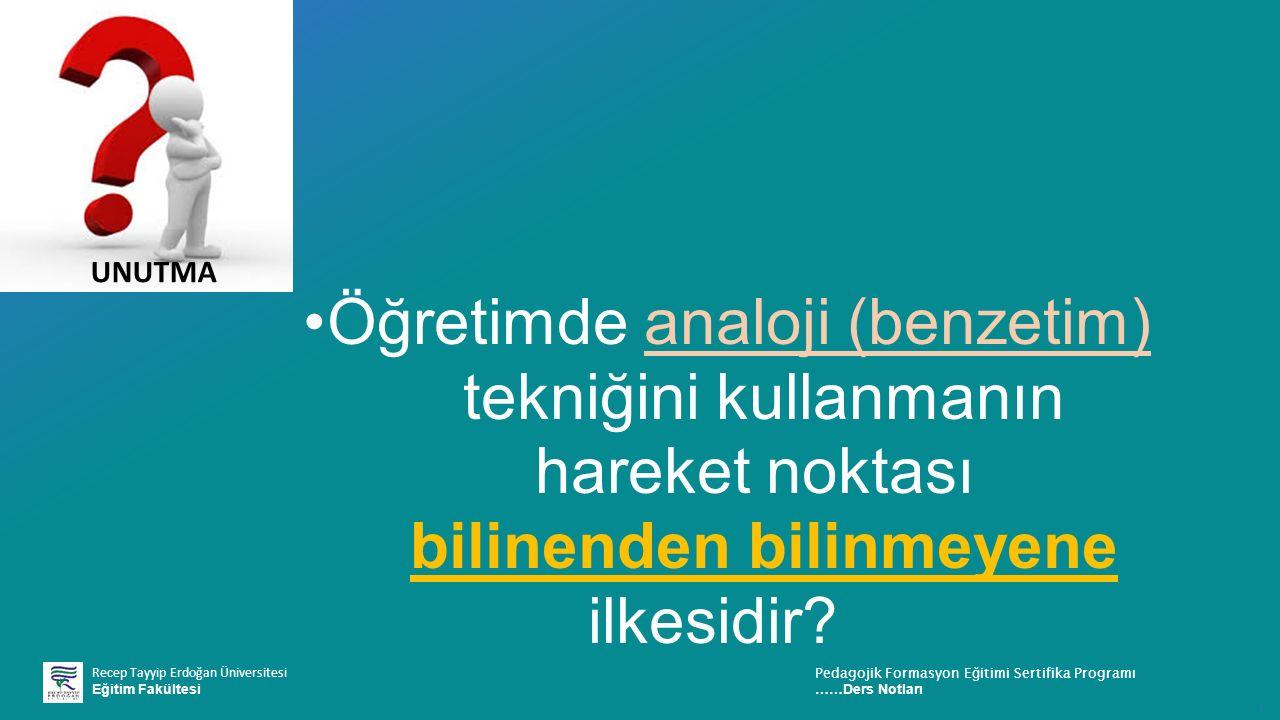 Recep Tayyip Erdoğan Üniversitesi Eğitim Fakültesi Pedagojik Formasyon E ğ itimi Sertifika Programı ……Ders Notları ı Öğretimde analoji (benzetim) tekniğini kullanmanın hareket noktası bilinenden bilinmeyene ilkesidir.