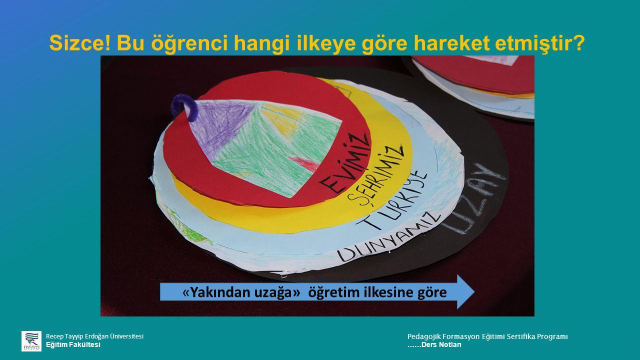 Recep Tayyip Erdoğan Üniversitesi Eğitim Fakültesi Pedagojik Formasyon E ğ itimi Sertifika Programı ……Ders Notları ı Sizce.