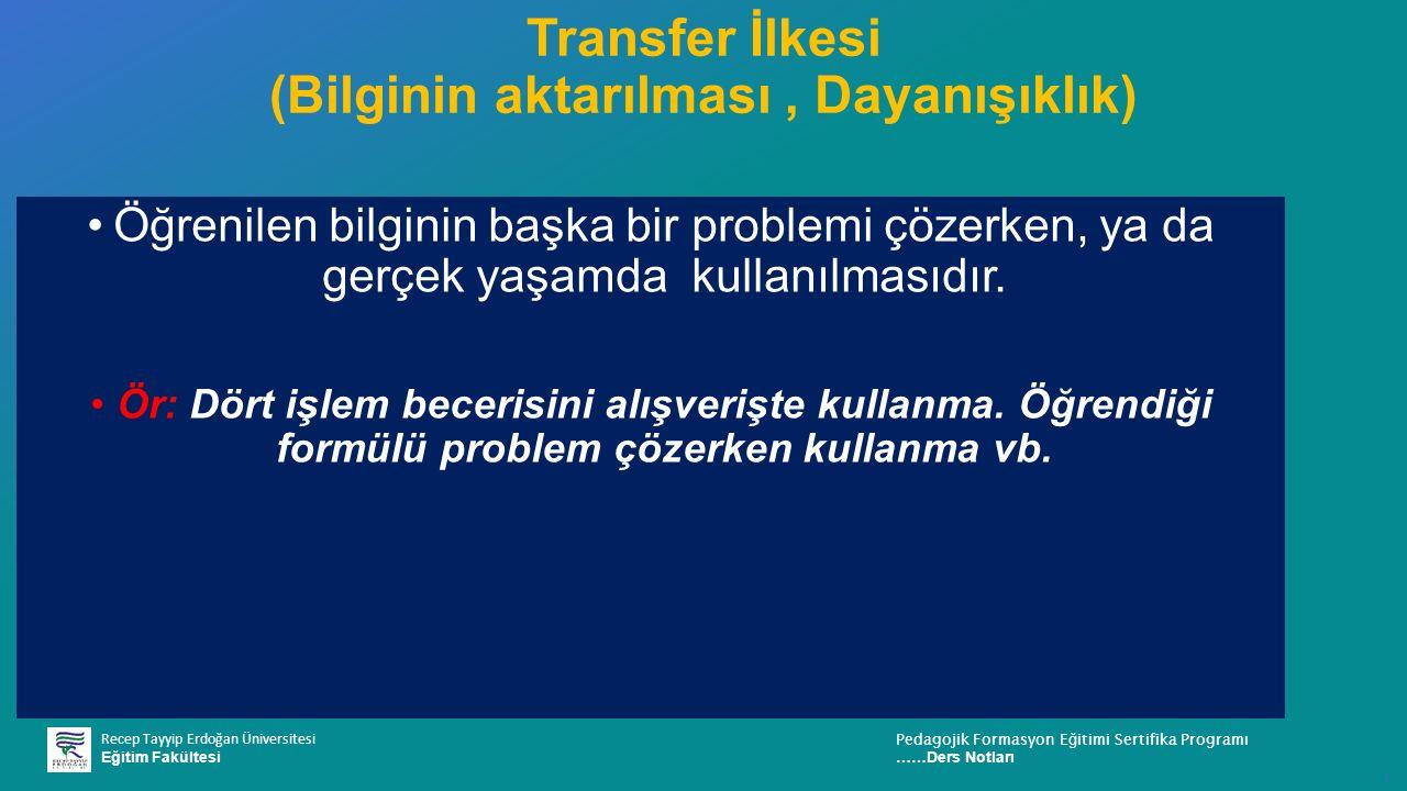 Recep Tayyip Erdoğan Üniversitesi Eğitim Fakültesi Pedagojik Formasyon E ğ itimi Sertifika Programı ……Ders Notları ı Transfer İlkesi (Bilginin aktarıl