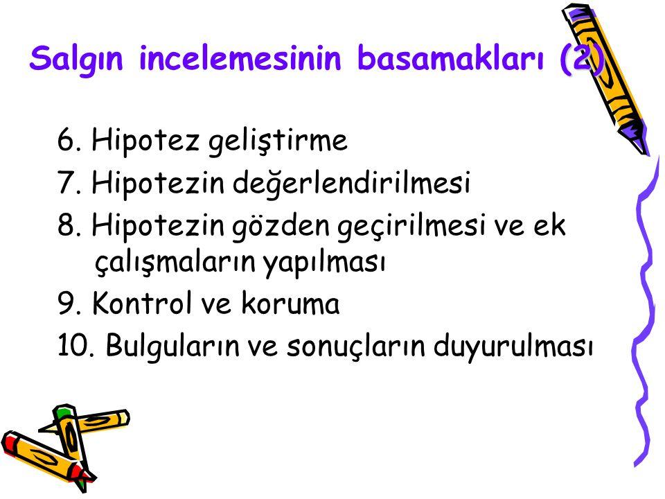 (2) Salgın incelemesinin basamakları (2) 6. Hipotez geliştirme 7. Hipotezin değerlendirilmesi 8. Hipotezin gözden geçirilmesi ve ek çalışmaların yapıl