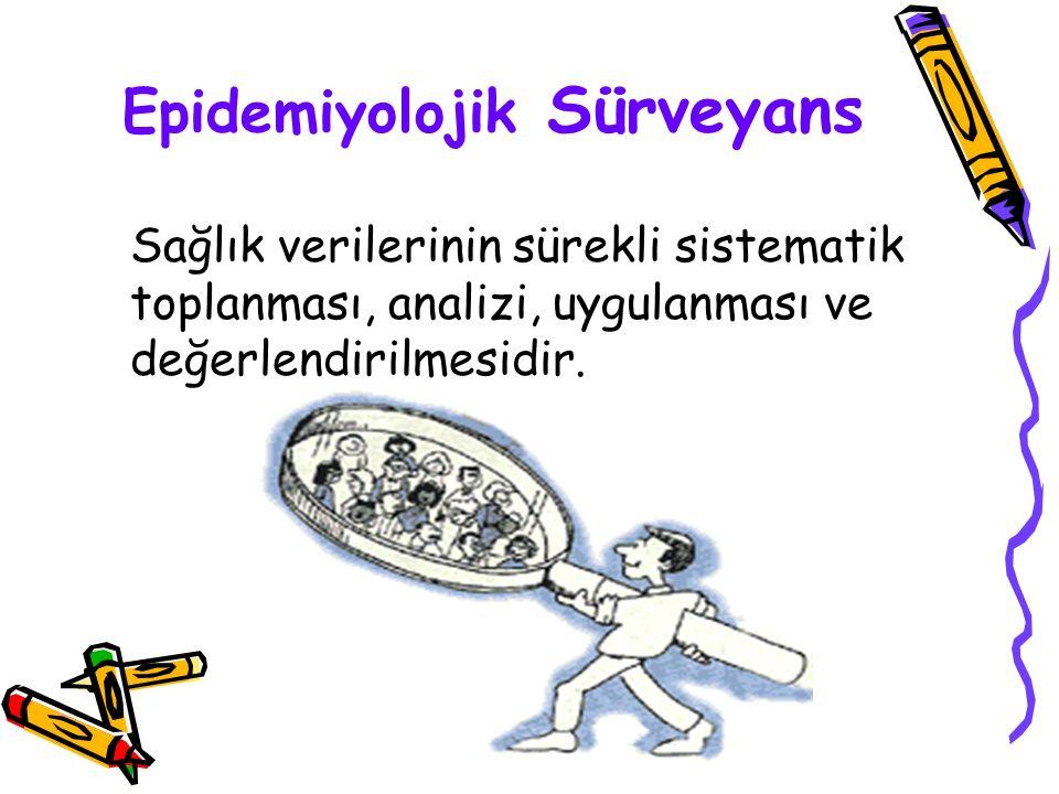 Epidemiyolojik Sürveyans Sağlık verilerinin sürekli sistematik toplanması, analizi, uygulanması ve değerlendirilmesidir.