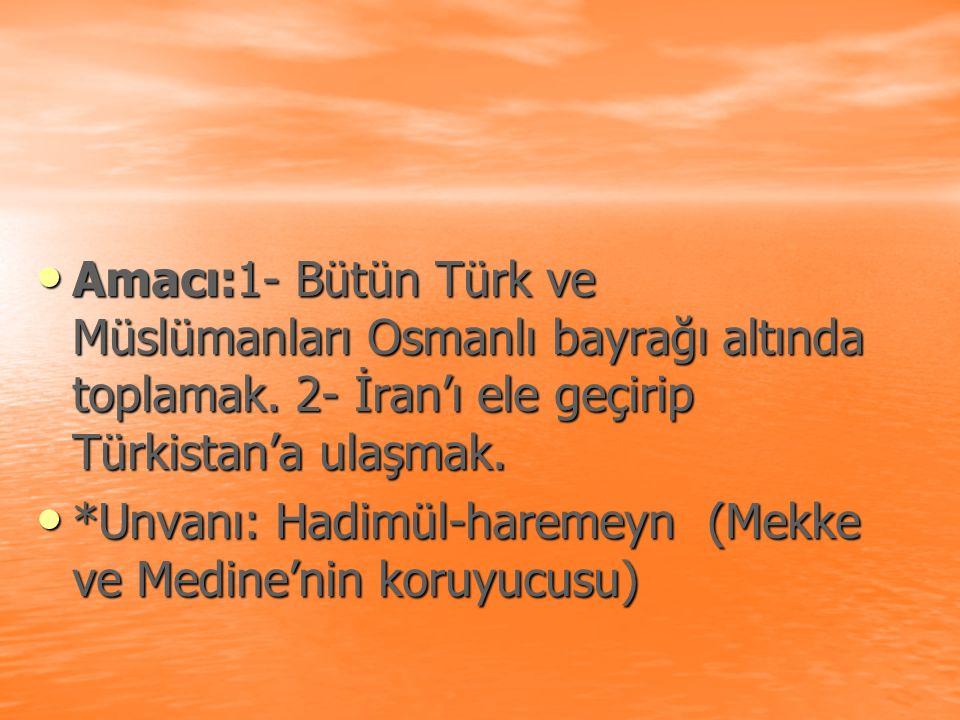 Amacı:1- Bütün Türk ve Müslümanları Osmanlı bayrağı altında toplamak. 2- İran'ı ele geçirip Türkistan'a ulaşmak. Amacı:1- Bütün Türk ve Müslümanları O