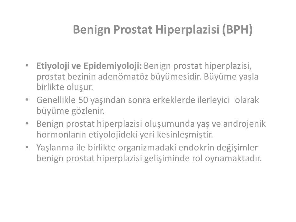 Benign Prostat Hiperplazisi (BPH) Etiyoloji ve Epidemiyoloji:Benign prostat hiperplazisi, prostat bezinin adenömatöz büyümesidir.