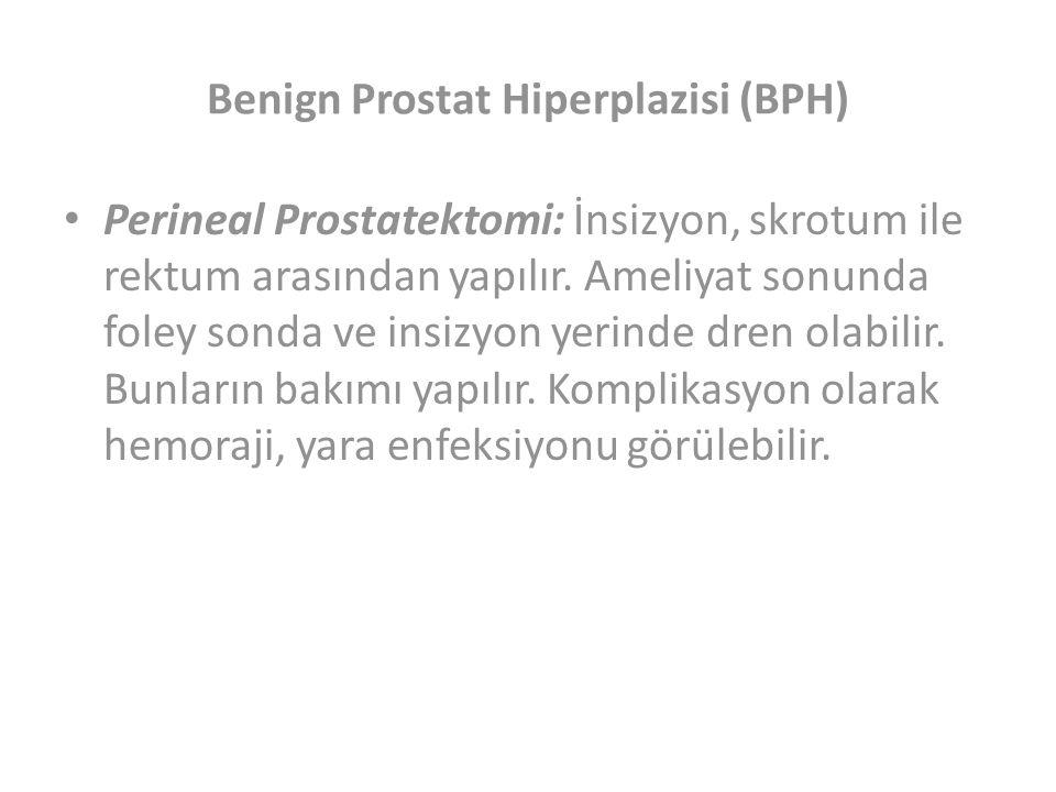 Benign Prostat Hiperplazisi (BPH) Perineal Prostatektomi: İnsizyon, skrotum ile rektum arasından yapılır.