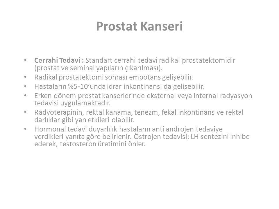Prostat Kanseri Cerrahi Tedavi : Standart cerrahi tedavi radikal prostatektomidir (prostat ve seminal yapıların çıkarılması).