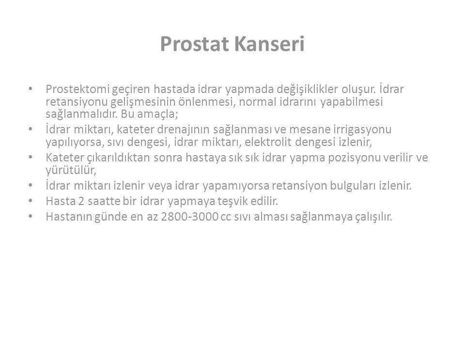 Prostat Kanseri Prostektomi geçiren hastada idrar yapmada değişiklikler oluşur.