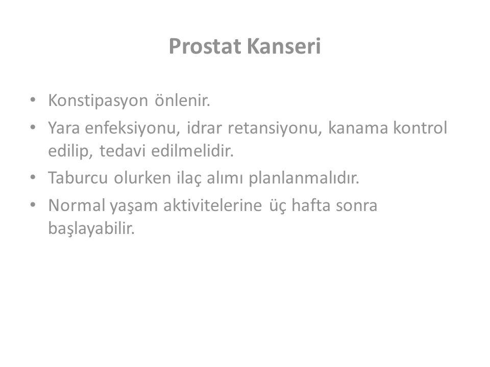 Prostat Kanseri Konstipasyon önlenir.