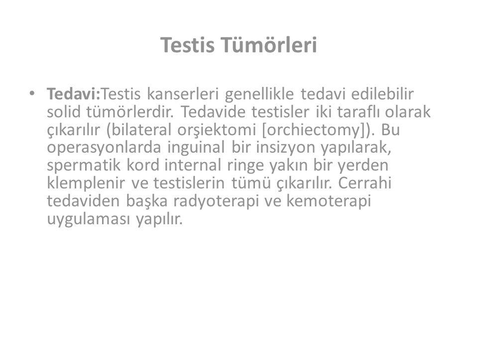 Testis Tümörleri Tedavi:Testis kanserleri genellikle tedavi edilebilir solid tümörlerdir.