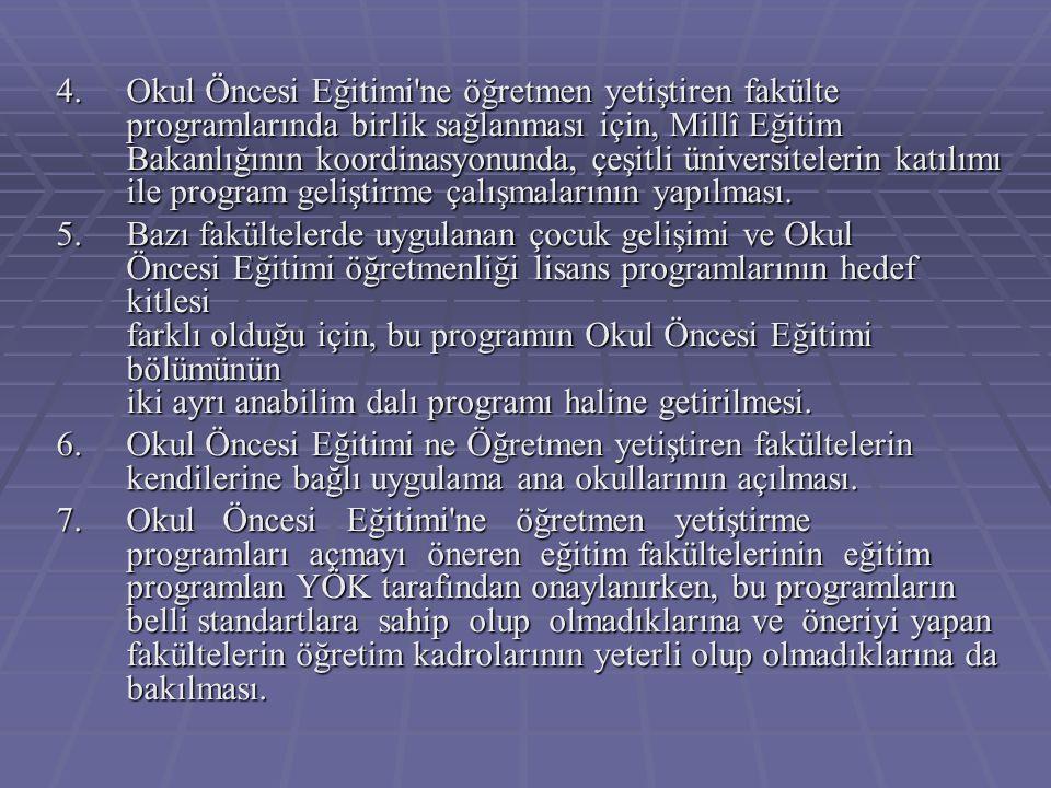 4.Okul Öncesi Eğitimi'ne öğretmen yetiştiren fakülte programlarında birlik sağlanması için, Millî Eğitim Bakanlığının koordinasyonunda, çeşitli üniver