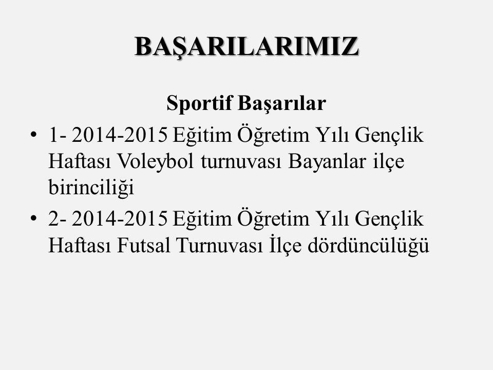 Sportif Başarılar 1- 2014-2015 Eğitim Öğretim Yılı Gençlik Haftası Voleybol turnuvası Bayanlar ilçe birinciliği 2- 2014-2015 Eğitim Öğretim Yılı Gençlik Haftası Futsal Turnuvası İlçe dördüncülüğü BAŞARILARIMIZ