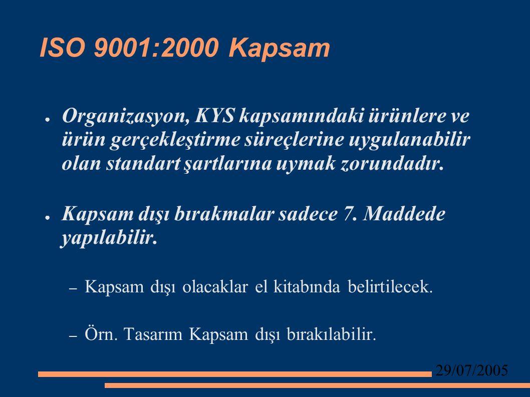 29/07/2005 ISO 9001:2000 Kapsam ● Organizasyon, KYS kapsamındaki ürünlere ve ürün gerçekleştirme süreçlerine uygulanabilir olan standart şartlarına uymak zorundadır.