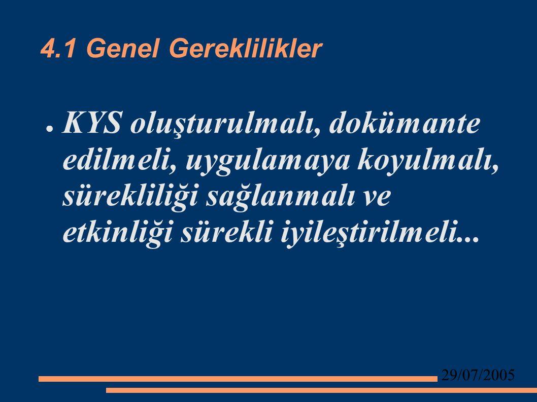 29/07/2005 4.1 Genel Gereklilikler ● KYS oluşturulmalı, dokümante edilmeli, uygulamaya koyulmalı, sürekliliği sağlanmalı ve etkinliği sürekli iyileştirilmeli...