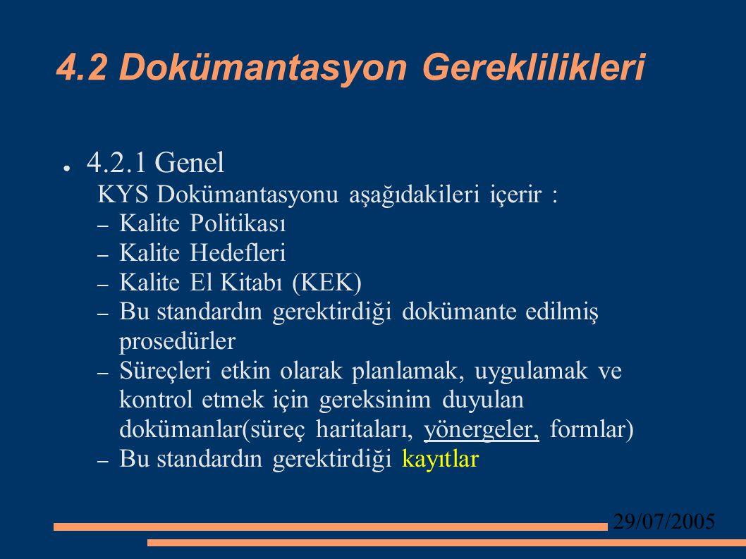 29/07/2005 4.2 Dokümantasyon Gereklilikleri ● 4.2.1 Genel KYS Dokümantasyonu aşağıdakileri içerir : – Kalite Politikası – Kalite Hedefleri – Kalite El Kitabı (KEK) – Bu standardın gerektirdiği dokümante edilmiş prosedürler – Süreçleri etkin olarak planlamak, uygulamak ve kontrol etmek için gereksinim duyulan dokümanlar(süreç haritaları, yönergeler, formlar) – Bu standardın gerektirdiği kayıtlar