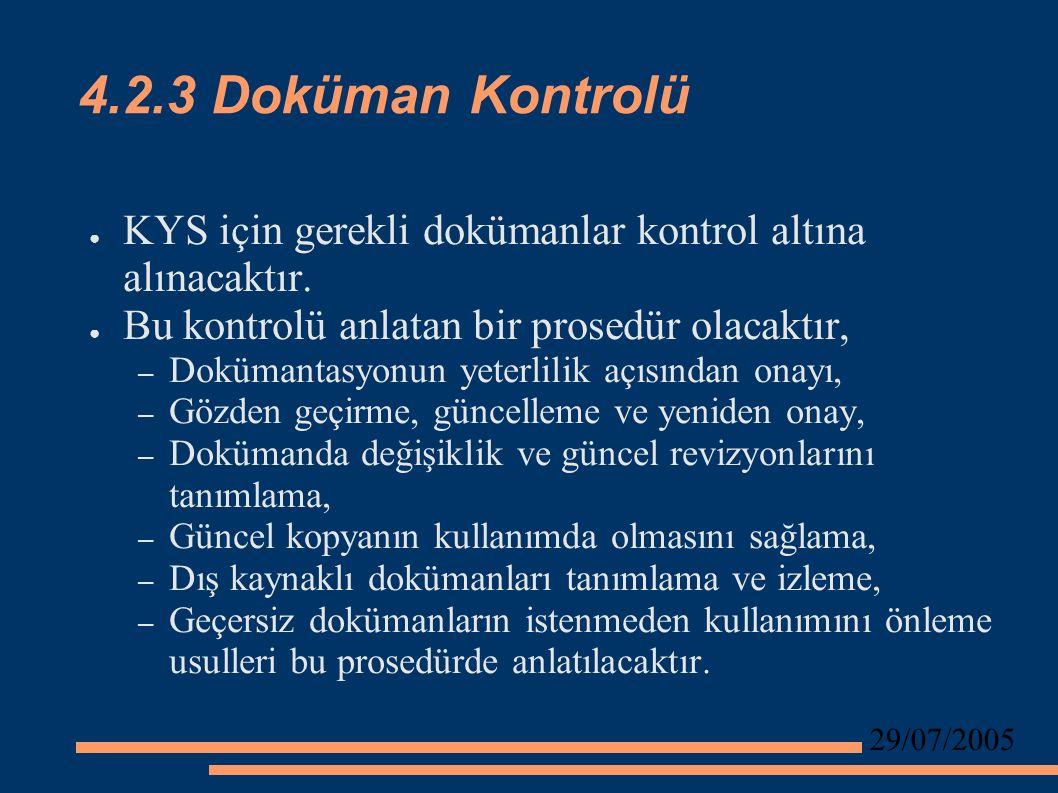 29/07/2005 4.2.3 Doküman Kontrolü ● KYS için gerekli dokümanlar kontrol altına alınacaktır.