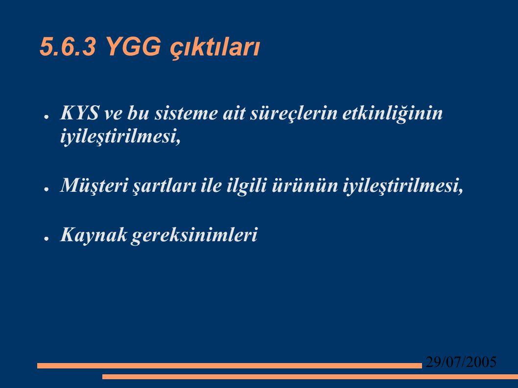 29/07/2005 5.6.3 YGG çıktıları ● KYS ve bu sisteme ait süreçlerin etkinliğinin iyileştirilmesi, ● Müşteri şartları ile ilgili ürünün iyileştirilmesi, ● Kaynak gereksinimleri