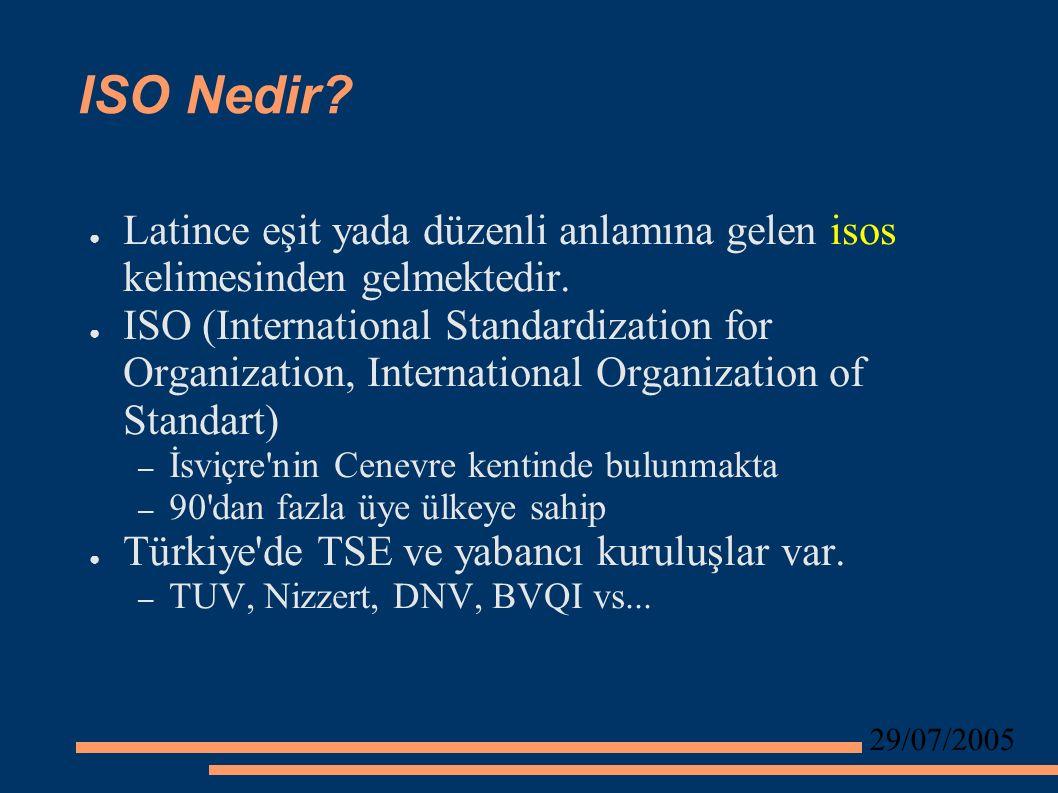29/07/2005 ISO Nedir. ● Latince eşit yada düzenli anlamına gelen isos kelimesinden gelmektedir.