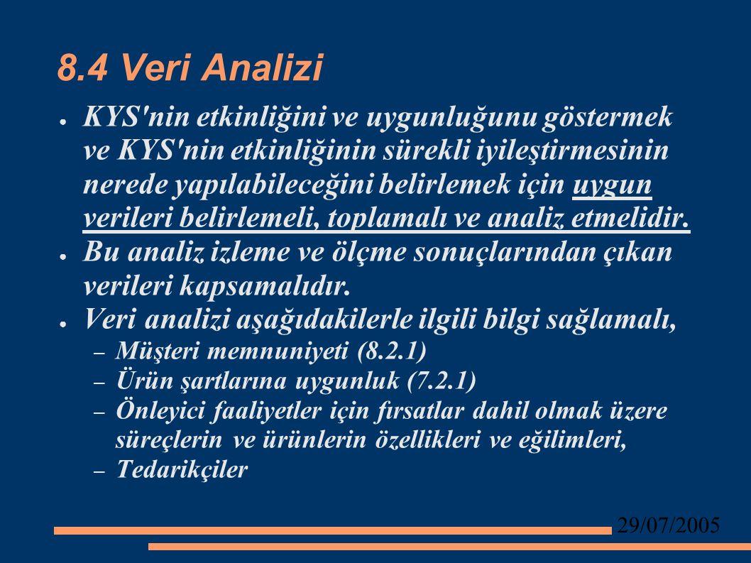 29/07/2005 8.4 Veri Analizi ● KYS nin etkinliğini ve uygunluğunu göstermek ve KYS nin etkinliğinin sürekli iyileştirmesinin nerede yapılabileceğini belirlemek için uygun verileri belirlemeli, toplamalı ve analiz etmelidir.