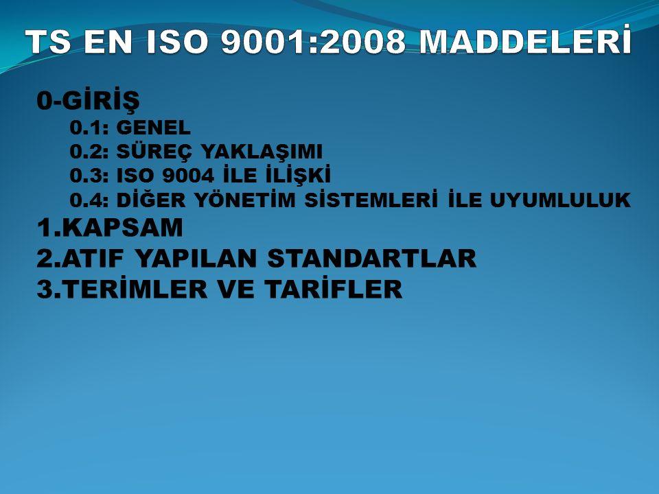 TS-EN ISO 9001:2008 SSistem ve dokümantasyonun genel şartları ÜÜst yönetimin sorumlulukları KKaynak Yönetimi ÜÜrün Gerçekleştirme ÖÖlçme, analiz ve iyileştirme