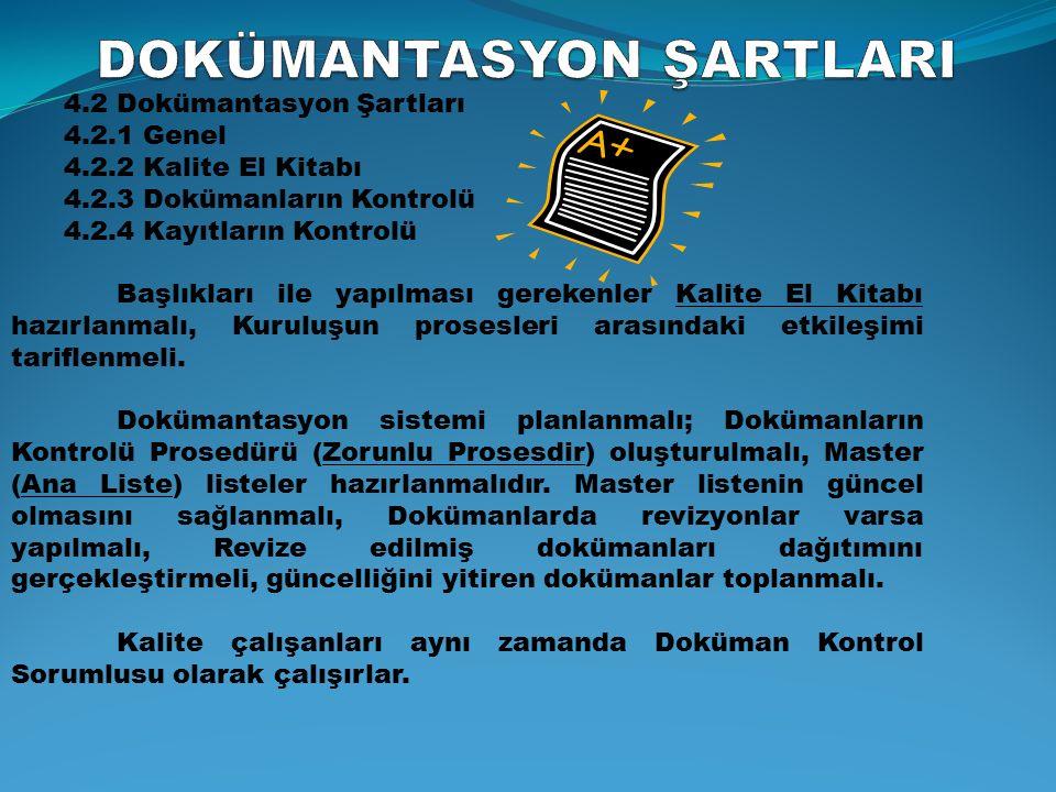I. Seviye (Stratejik ) KALİTE EL KİTABI KALİTE SİSTEM PROSEDÜRLERİ GÖREV/İŞ TALİMATLARI II.