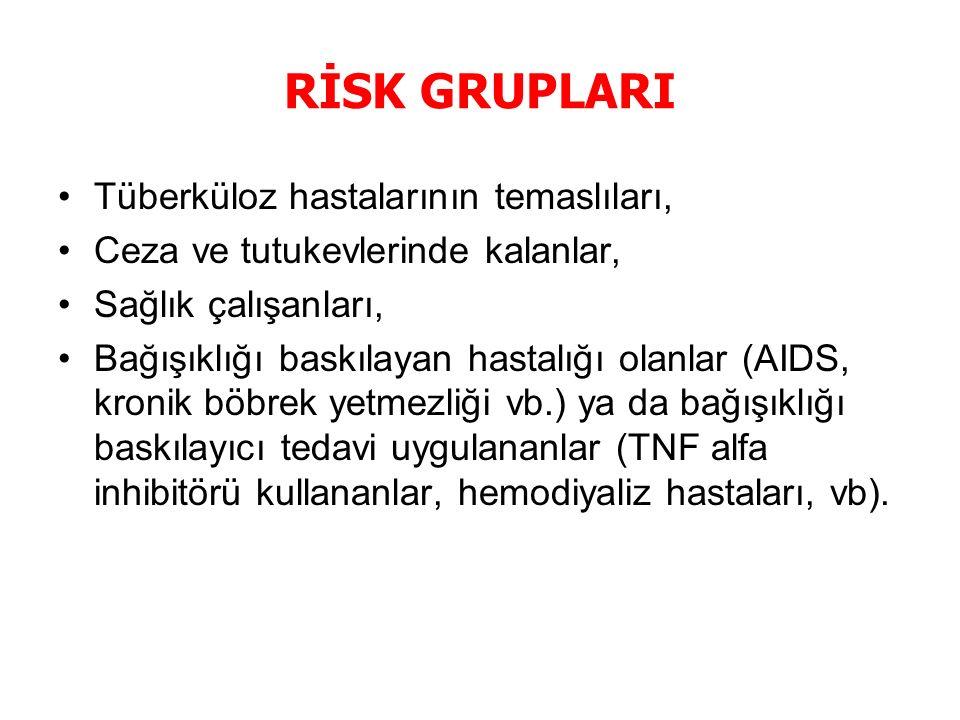 RİSK GRUPLARI Tüberküloz hastalarının temaslıları, Ceza ve tutukevlerinde kalanlar, Sağlık çalışanları, Bağışıklığı baskılayan hastalığı olanlar (AIDS