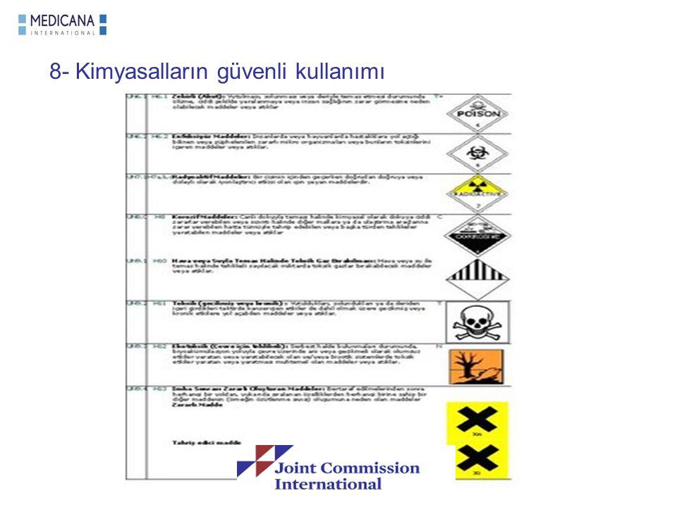 8- Kimyasalların güvenli kullanımı