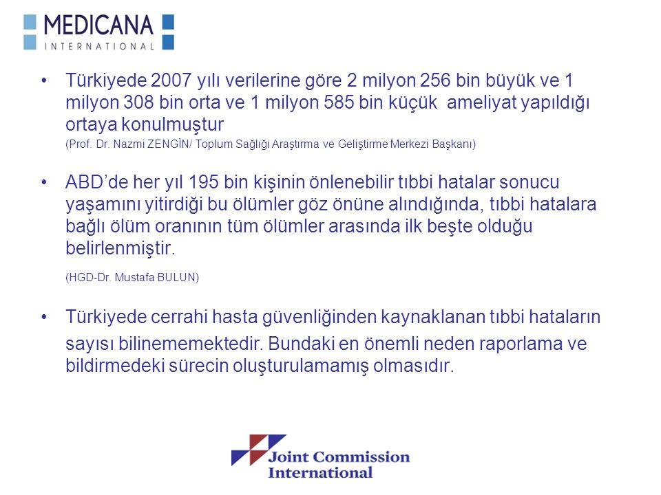 Türkiyede 2007 yılı verilerine göre 2 milyon 256 bin büyük ve 1 milyon 308 bin orta ve 1 milyon 585 bin küçük ameliyat yapıldığı ortaya konulmuştur (P